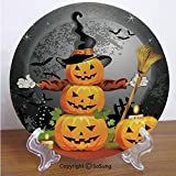 """SoSung Halloween 7"""" Ceramic Decorative Plate,Cute Pumpkins Funny Composition Traditional Celebration Witches Hat Broomstick Multicolor,for Living Room, Bedroom, Hallway Console Side Table Decor"""