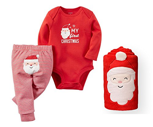 [Carters Baby My First Christmas Bodysuit and Pants Set with Santa Blanket (Newborn)] (Cute Santa Outfits)