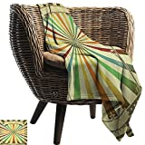 warmfamily Reversible Blanket Vintage Rainbow Colorful Burst of Lines with Poster Design with Stars Circus Illustration Fall Winter Spring Living Room60 Wx80 L