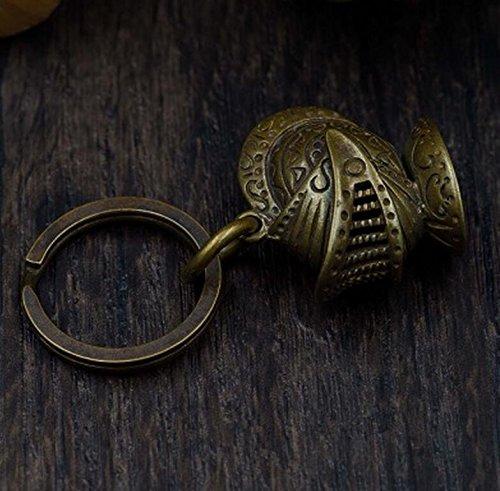 (Retro Handmade Brass Helmet Shape Keychain Key Ring Knight Pendant Opener)