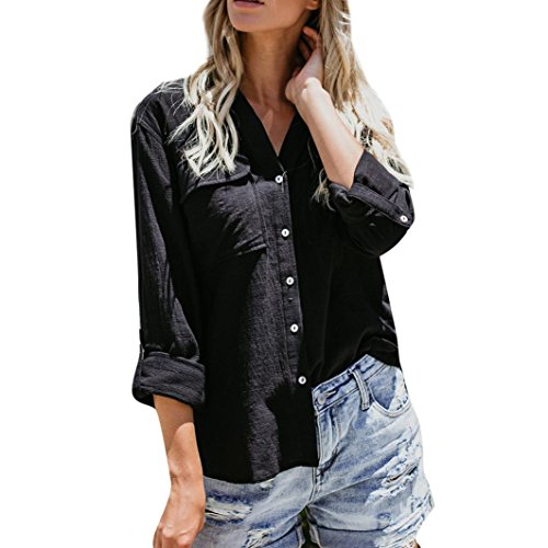 Women's Blouse,Cotton Linen Casual Solid Long Sleeve Shirt Button Down Tops by-NEWONESUN