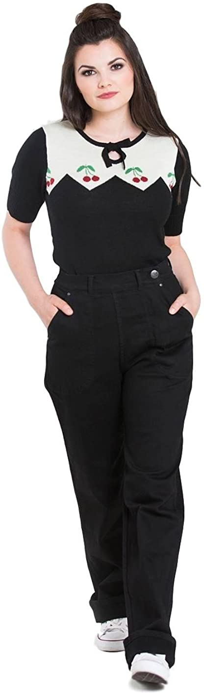 Vintage High Waisted Trousers, Sailor Pants, Jeans Hell Bunny Weston Denim Jeans 40s 50s Vintage Retro Rockabilly Trousers Pants £34.99 AT vintagedancer.com