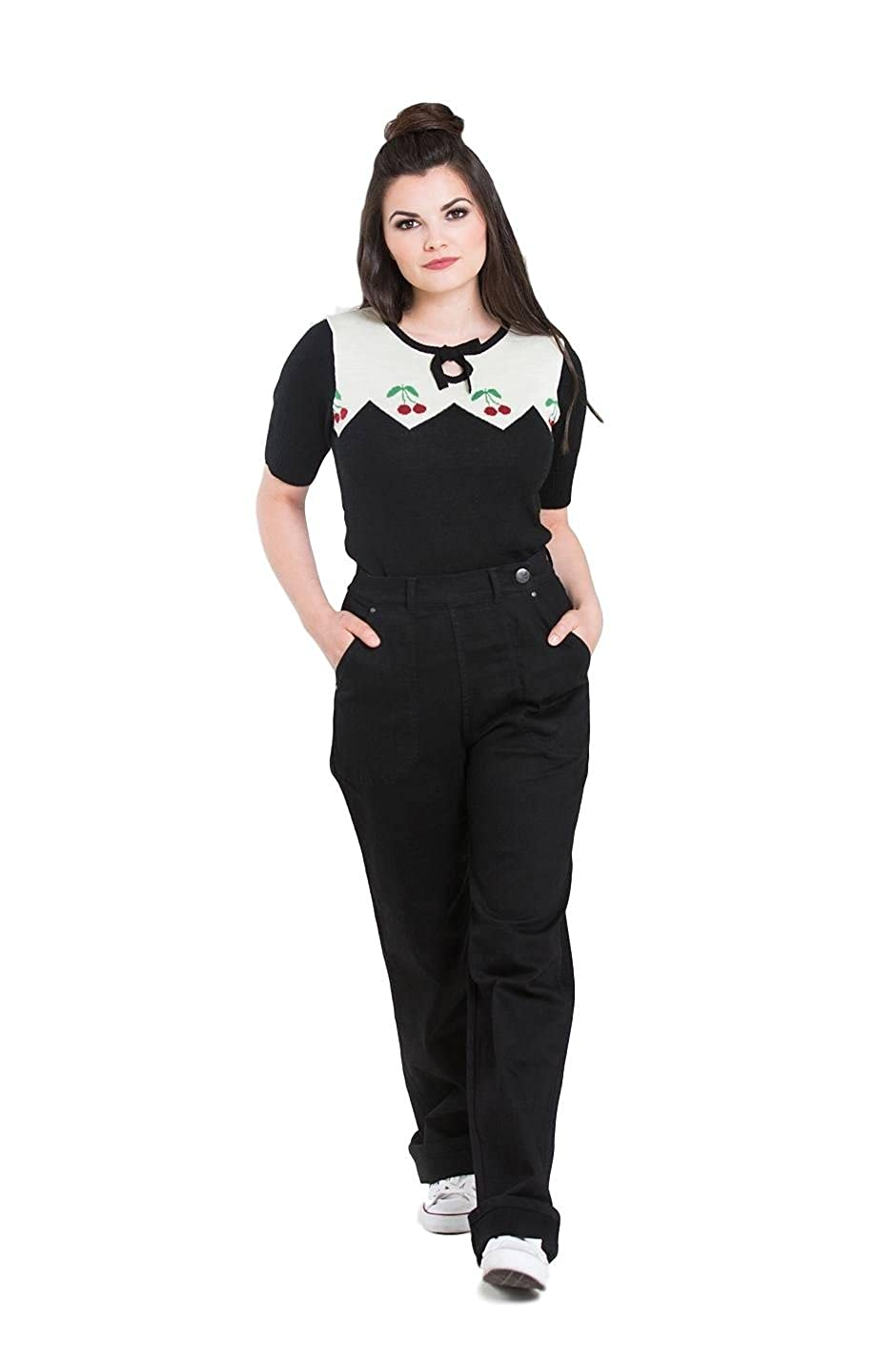 1940s Swing Pants & Sailor Trousers- Wide Leg, High Waist Hell Bunny Weston Denim Jeans 40s 50s Vintage Retro Rockabilly Trousers Pants $49.99 AT vintagedancer.com