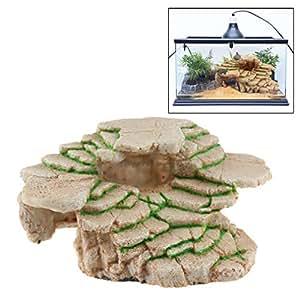 Yying Stone Step Cave Turtle Reptiles Hideout Resina de Acuario, Accesorios para terrarios, embarcaciones