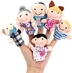 [Free Shipping] 6 Pcs Finger Puppets Plush Cloth Toy Baby Bed Stories Helper Doll