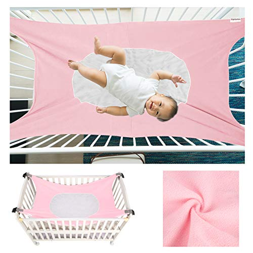 Caroeas Babycare Baby Hammock, Cozy As Womb Baby Crib Hammock, Adjustable Straps Fits Most Cribs, Enhanced Safety Measures Baby Hammock for Crib, Nursery Baby Hammock Swing (Pink)