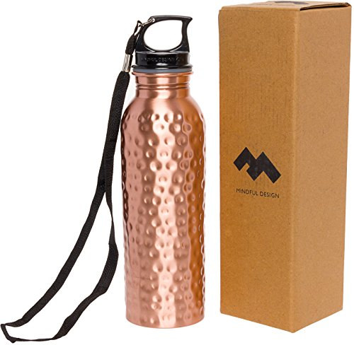 Mindful Design Pure Copper Hammered Leak-Proof Ayurvedic Water Bottle