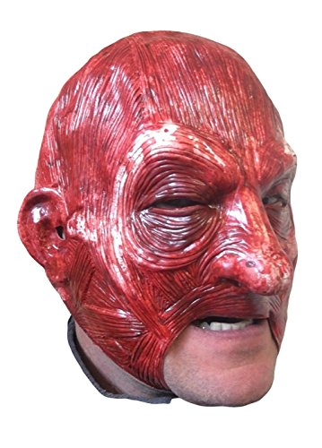 Bloody Skinned Face Hood by Rubber Johnnies, One Size Adult, Open Mouth ()