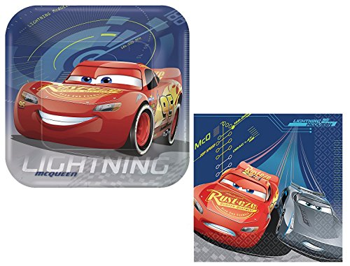 Disney Cars 3 Lightning McQueen Birthday Party Set - Plates and Napkins