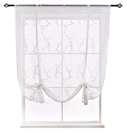 HomeyHo Tie up Curtains for Kitchen Windows Curtains Sheer Floral Sheer  Curtain Kitchen Window Semi Sheer Curtain Kitchen Rod Pocket Curtain Sheers  ...
