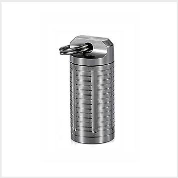 TI-EDC Pill Holder Keychain Titanium Small Pill Fob Container Necklace  Holds Nitroglycerin Nitro Aspirin