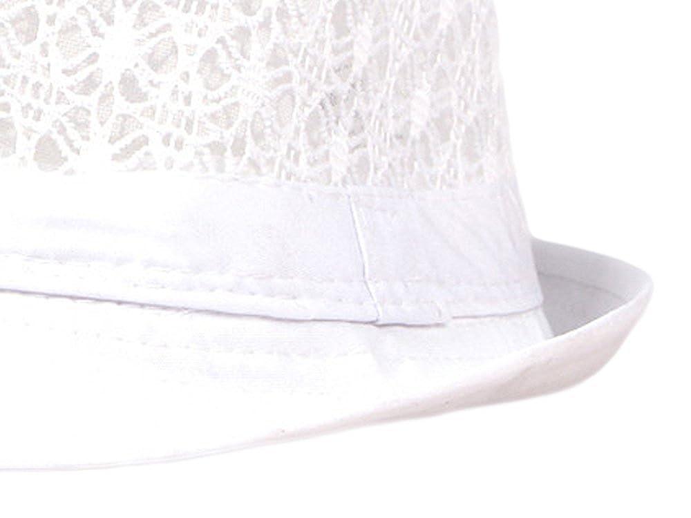 Qunson Womens Eyelet Summer Short Brim Trilby Fedora Hat