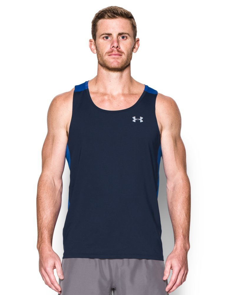 Under Armour Men's CoolSwitch Run Singlet, Midnight Navy/Ultra Blue, Large