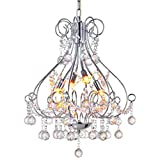 Cheap Modern Pendant Chandelier Crystal Raindrop Lighting Ceiling Light Fixture Lamp for Dining Room Bathroom Bedroom Livingroom 4 G9 Bulbs Required D18 in x H20 in