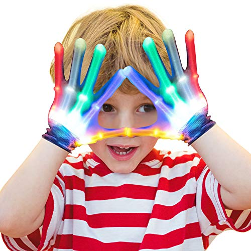 Gifts for Teen Boys Girls Kids Party Favors, BFYWB Flashing LED Gloves Christmas Gifts Ldeas for Teen Boys Girls Cool Toys for 3-12 Years Old Boys Girls