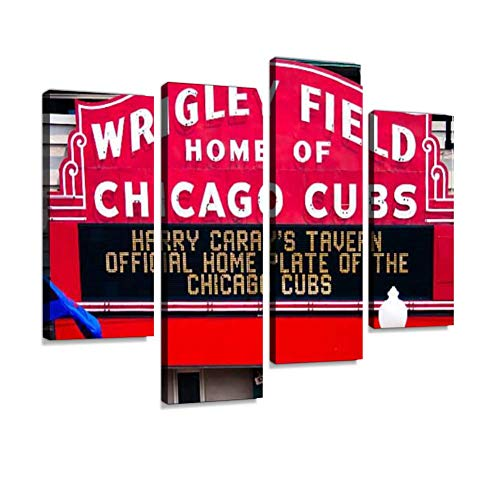 Canvas Wall Art Painting Pictures Wrigley Field Modern Artwork Framed Posters for Living Room Ready to Hang Home Decor 4PANEL