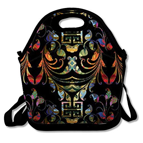 Lunch Totes for Women and Men Reusable Key Ornamental Paisley Floral Bright Patterned Flowers Leaves Swirls Lines Greek 3D Versace Insulated Girls Lunch Bag for Work School and ()