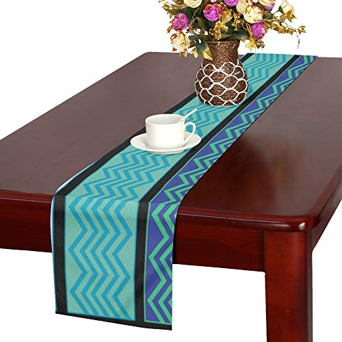 WBSNDB Water Border Waves Sea Ocean Wave Vector Table Runner, Kitchen Dining Table Runner 16 X 72 Inch for Dinner Parties, Events, - Big Waves Border Ocean