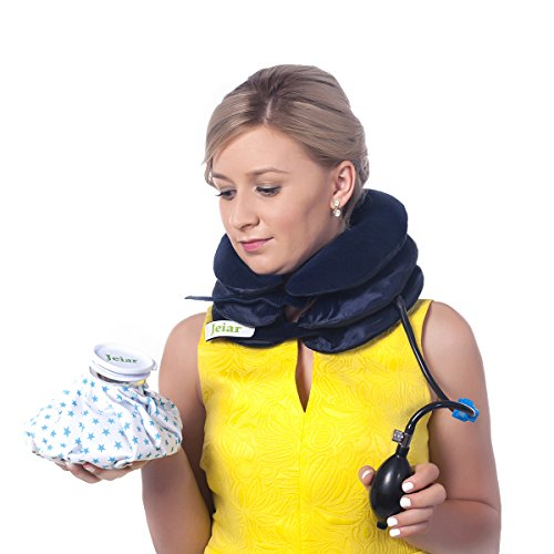 Jeiar Cervical Traction Device - Inflatable & Adjustable for Best Spinal Decompression Stretch for the Neck in the Home + Water Bag - Great Remedy to Relieve Neck Head and Shoulder Pain - Pillow Brace