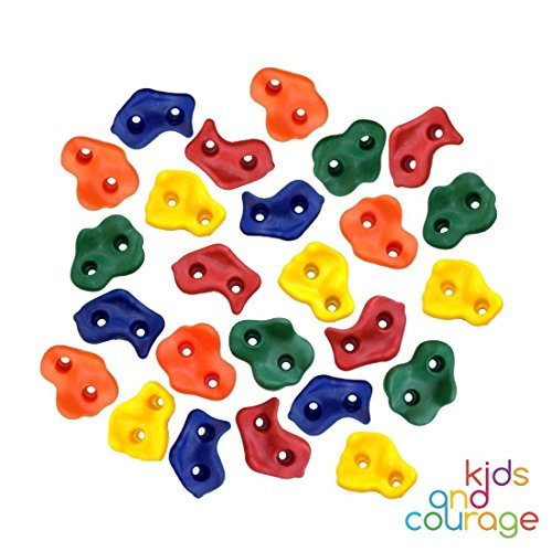 Ruby's Creations 25 Textured Rock Climbing Holds for Kids with Installation Hardware - Climbing Grips for Your DIY Rock Stone Wall (Climbing Rock Playset)