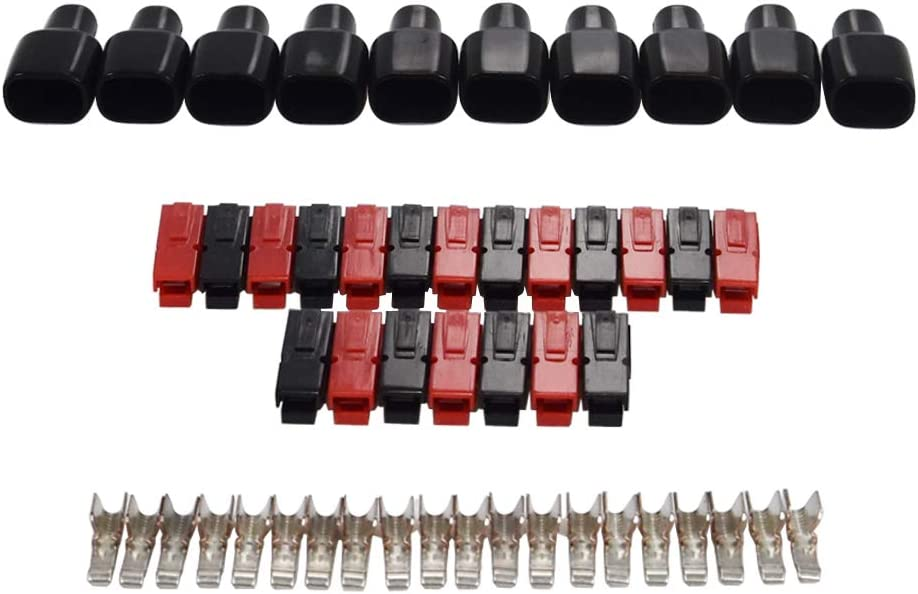 45A Battery Connectors Contacts Modular Power Supply Battery Connectors for 45 AMP 45 A,10 Pcs Black Housings+10 Pcs Red Housings+20 Pcs Contacts+10 pcs Sleeve Covers