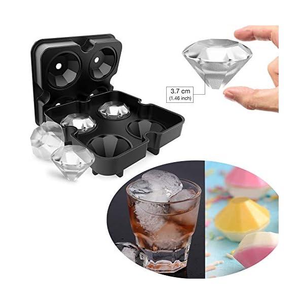 HOMCA, Stampo per cubetti di Ghiaccio in Silicone per Uso Alimentare, con Teschio e Diamanti, Perfetto per Whisky… 2 spesavip