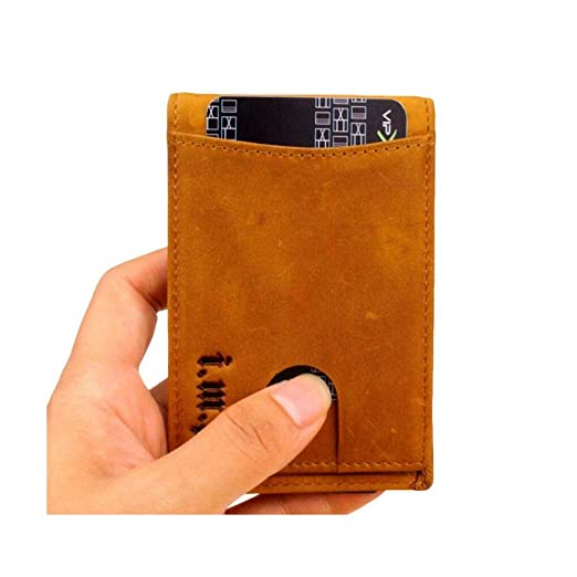 4dc4a4a1351a Mens Genuine Leather Bifold Wallet Money Clip RFID Blocking Travel ...