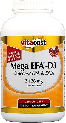 Vitacost Mega Efa D3 Omega 3 Epa   Dha    2 126 Mg Per Serving   240 Softgels