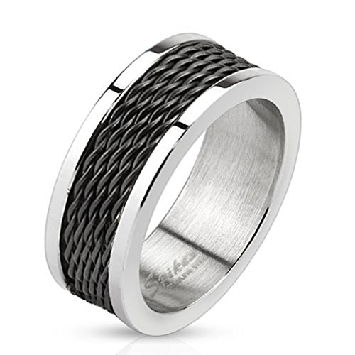 Mens Ring Stainless Steel Cable Ring - Size 10