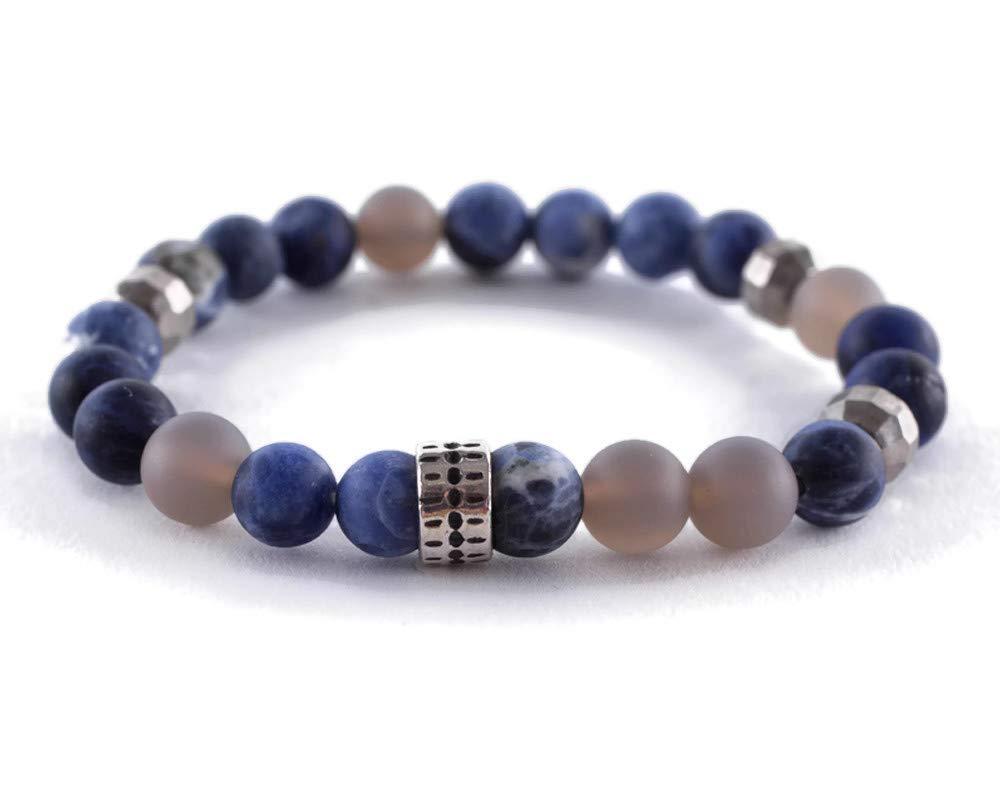 Chan Luu Matte Blue and Grey Mix Mineral Stone Beaded Silvertone Stretch Bracelet