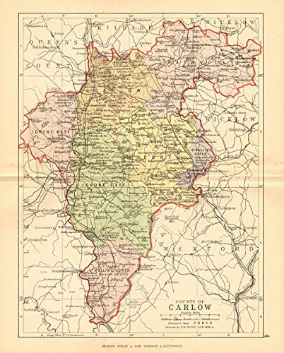 Map Of Ireland Leinster.Amazon Com County Carlow Antique County Map Leinster Ireland