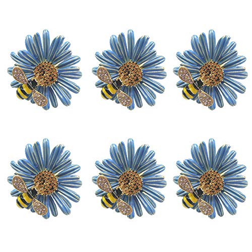 SCTD Daisy Flower Napkin Rings - Set of 6 Metal Napkin Holders for Wedding Party and Daily Use, a Beautiful Complement to Your Dinner Table Décor (Blue) (Napkin Ring)