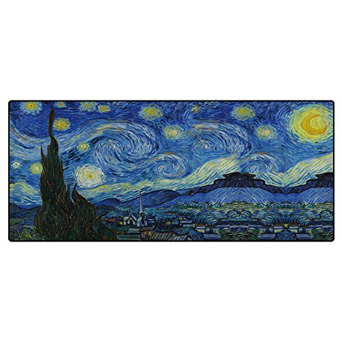 Extended Van Gogh Painting Starry Night Gaming Mouse Pad - 31.5''x11.8''x0.12'' Dimension - Stitched Edges Gaming Mouse Mat and Keyboard Pad,Large Size Desk Pad - Non-slip Rubber Base by SuoSuo