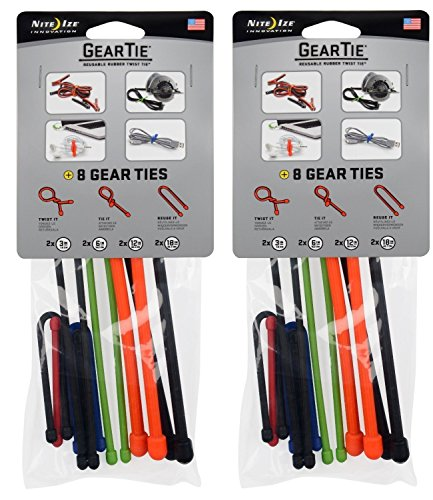 Nite Ize Gear Tie - Assorted 8 Pack Size:Pack of 2