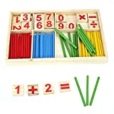 LUQUAN Gift Set Kids Child Wooden Numbers Mathematics Early Learning Counting Educational Toy (Multicolor)