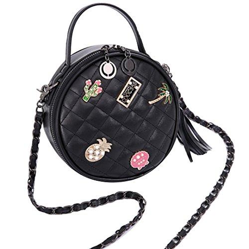 Felice Women Round Plaid Tassel Handbag Mini PU Leather Cross-Body Shoulder Bag (Fruit Studded)