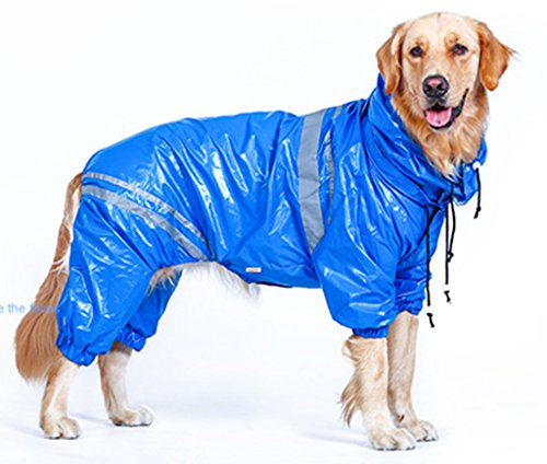 MaruPet Outdoor Polyester Waterproof Glisten Four-leg Raincoat Doggie Detachable Hooded Lined Rain Gear Jumpsuit for Medium Large Dog Golden Retriever Samoye Husky Collie Blue 6XL (Dog Raincoat Rain Gear)