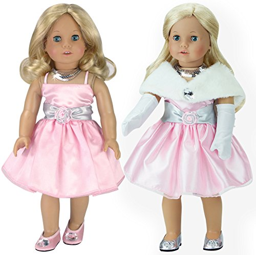 Dress Up Dolls Clothes (18 Inch Doll Clothes Dress 4 Pc. Set Fits 18 Inch American Girl Doll Clothes & More! (Doll Shoes sold separately) Special Occasion Doll Dress Outfit, Necklace, Gloves & Stole)