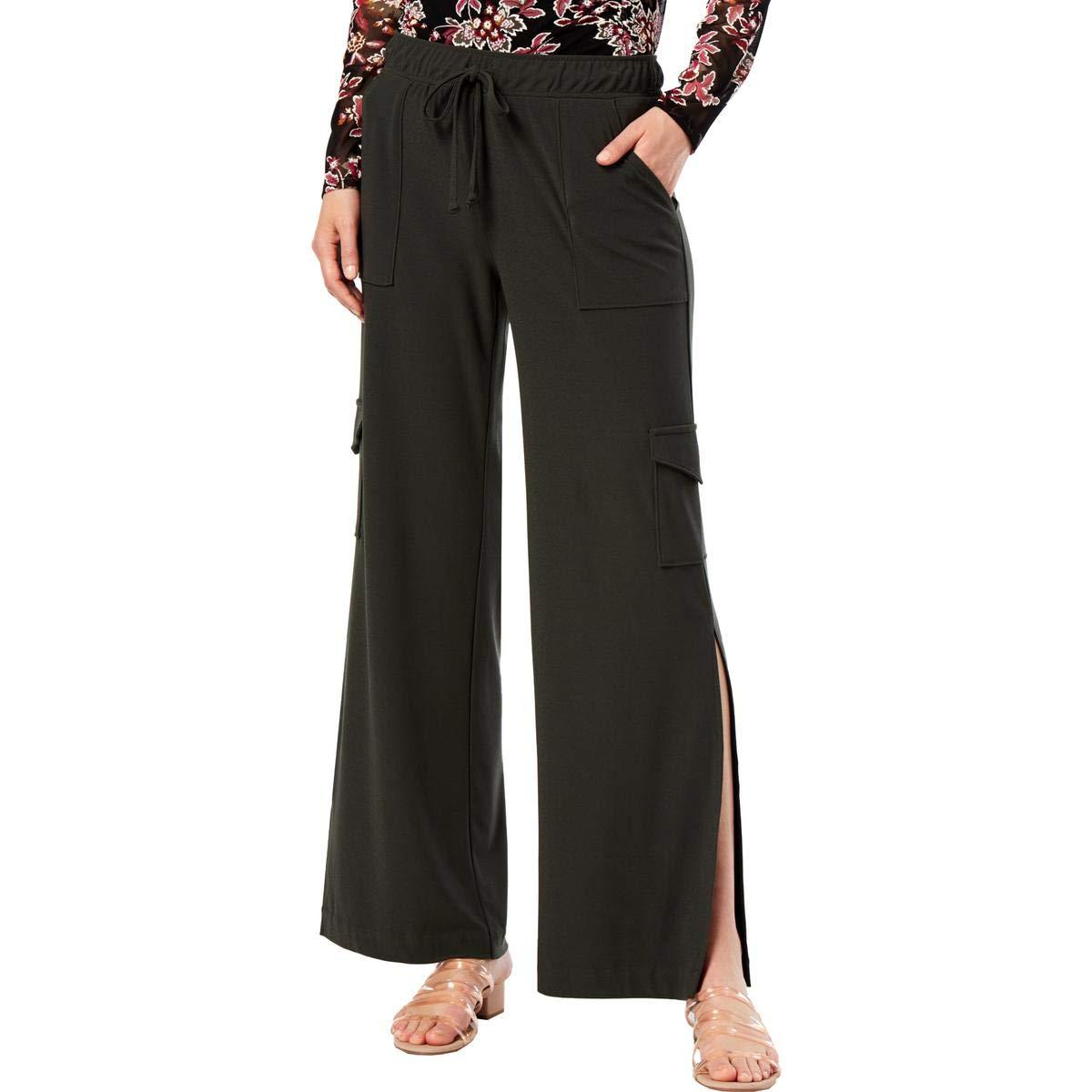 INC Womens Petites Regular Fit Cargo Wide Leg Pants Green PS