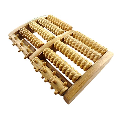 BIAL EX Foot Massager 5 Wooden Rollers Acupressure Roller Wood Foot Massage Stress Relief - Gifts to Share