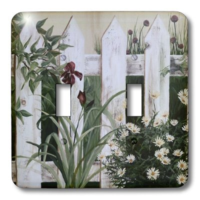 3dRose LLC lsp_44359_2 Weathered White Picket Garden Fence with Irises and Daisies, Double Toggle Switch