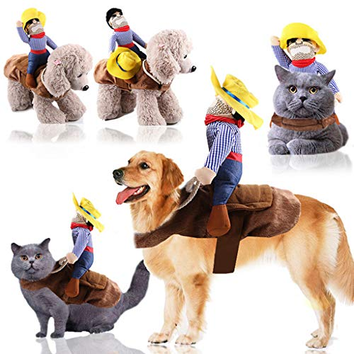Halloween Costume Ventriloquist Doll (⭐ Futurelove ⭐ Pet Dog Costume Cowboy Knight Rider Style Clothes Knight Style with Doll and Hat Horse Riding for Halloween/Christmas/Holiday Day/Near Year Gifts for Pet)