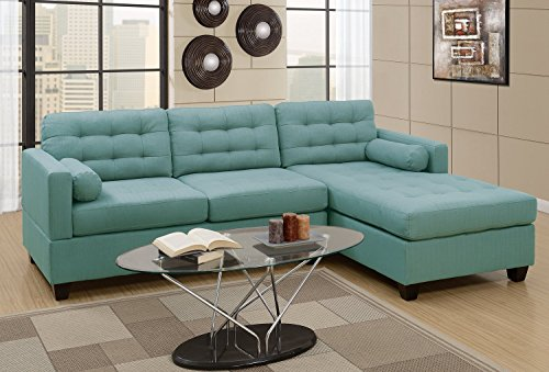 2Pcs Modern Laguna Linen-Like Fabric Reversible Sectional Sofa Chaise Set with Accent Tufting by Advanced Furniture
