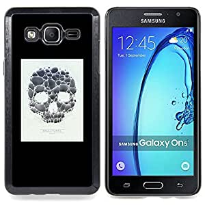 - Skull Poster Minimalist White Black - - Snap-On Rugged Hard Cover Case Funny HouseFOR Samsung Galaxy On5 SM-G550FY G550