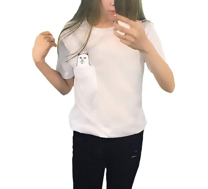 Camisetas Mujer Verano Manga Corta Cuello Redondo T-Shirt Lindo Divertidas Gatos Patrón Moda Casual Camiseta Tops Ropa Fiesta Moda: Amazon.es: Ropa y ...