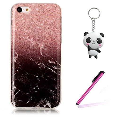 iPhone 5C Coque,Marbre noir Premium Gel TPU Souple Silicone Clair Bumper Protection Housse Arrière Étui Pour Apple iPhone 5C + Deux cadeau