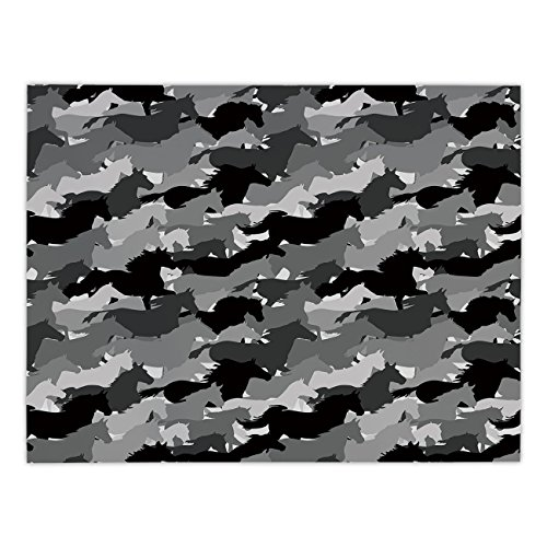 Rectangular Satin Tablecloth,Horse Decor,Herd of Skipping Horses Monochrome Silhouettes Western Wildlife Theme,Grey Silver Black,Dining Room Kitchen Table Cloth ()