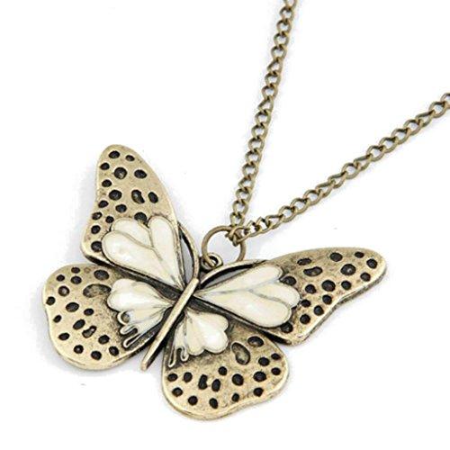 JSDY Womens Bronze Butterfly Pendants Sweater Necklaces Fashion Jewelry