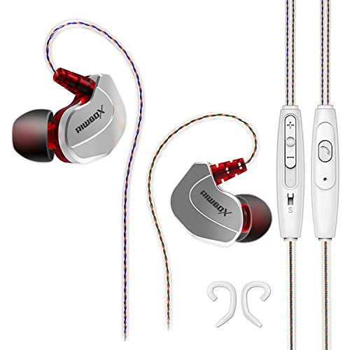 Riwbox X7 Comfort-Fit In-Ear Headphones Noise-Isolating Sweatproof Resistant sport Earbuds with In-line Microphone, Universal Volume Control and Secure Earhooks(Silver)