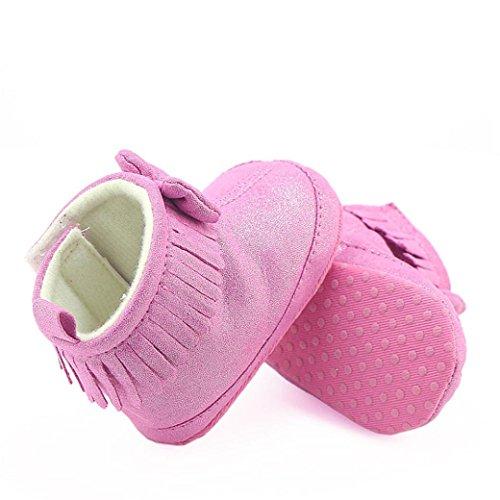Clode® Baby Mädchen Winter Warm Krippe Bowknot Stiefel Prewalker Warm Martin Schuhe Hot Pink